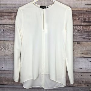 Theory Slit Front Silk Tunic Sm Long Sleeve Ivory